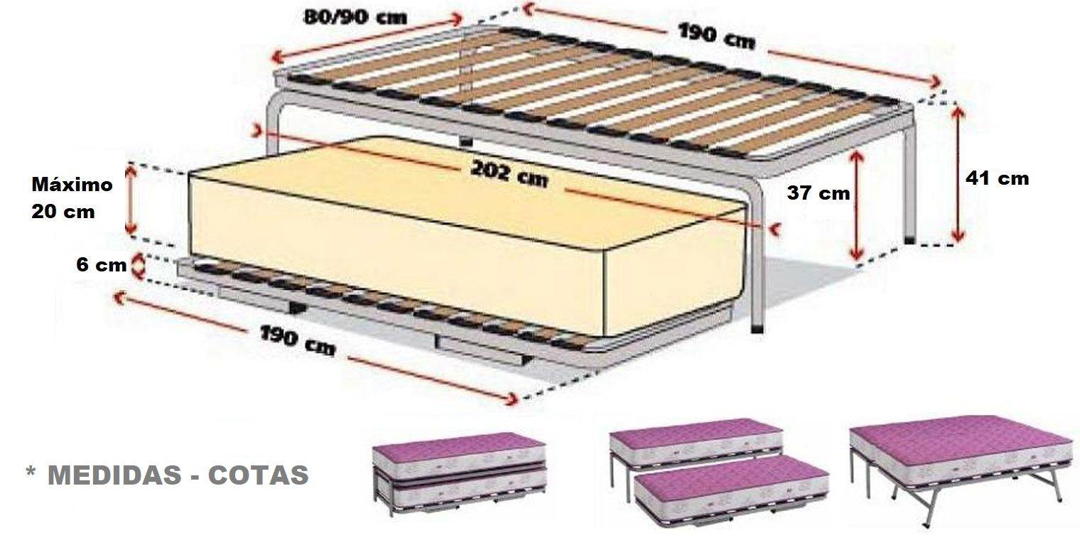 Somier nido colch n viscoel stico canapi for Estructura cama nido 105