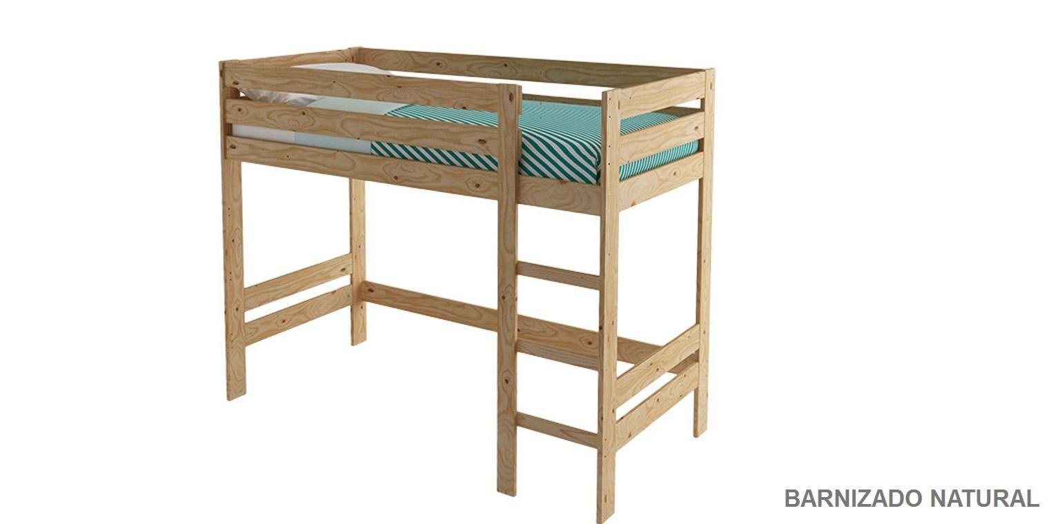 Litera madera cama alta canapi for Como hacer una cama alta de madera