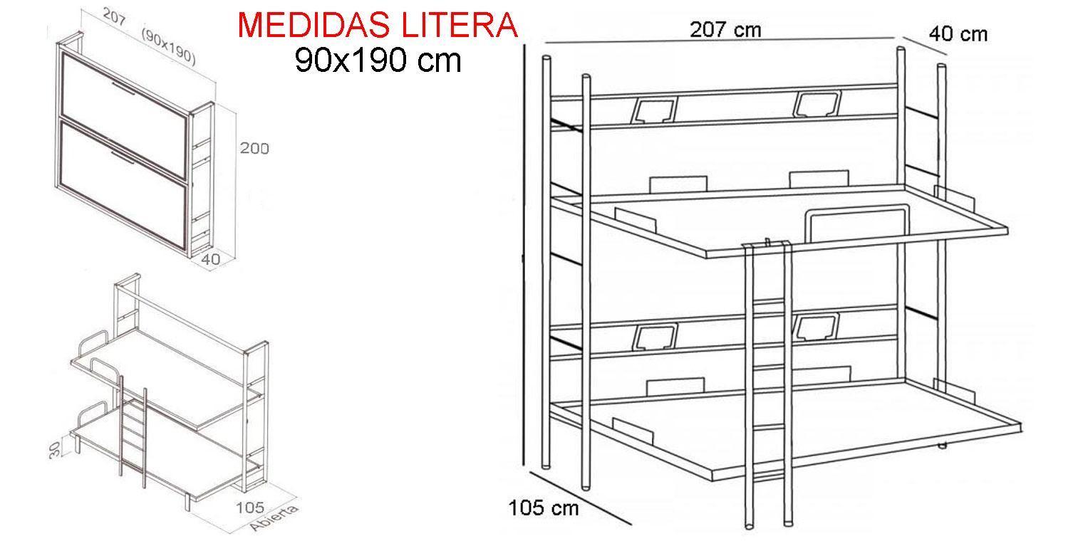 Medidas de literas litera cama de metal con escritorio - Medidas camas abatibles ...
