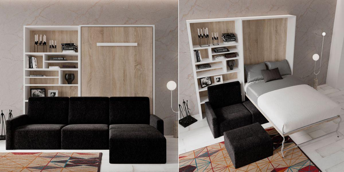 Cama abatible vertical sofa canapi for Sofa cama armario