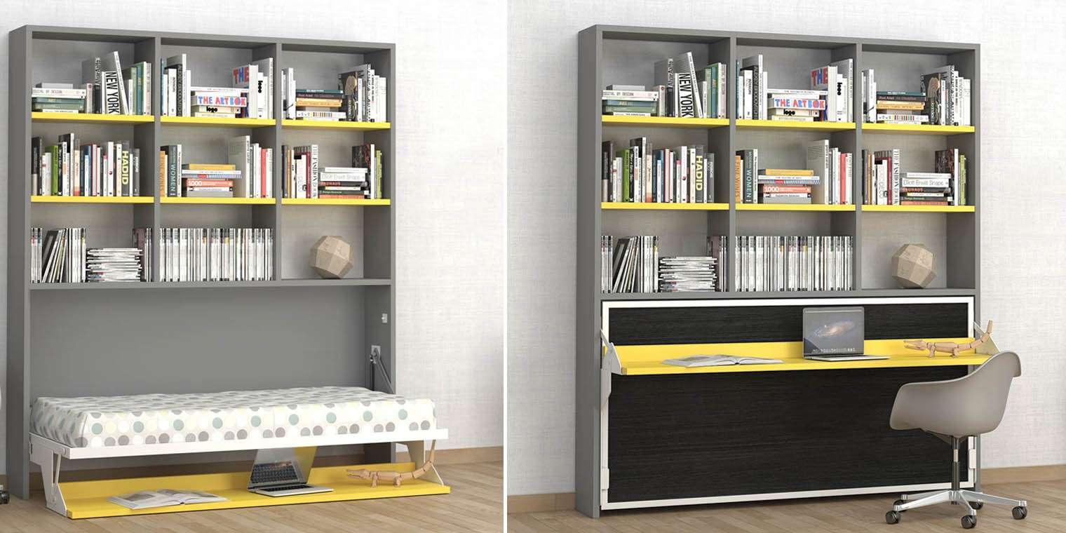 Cama abatible horizontal escritorio libreria canapi - Escritorio cama abatible ...
