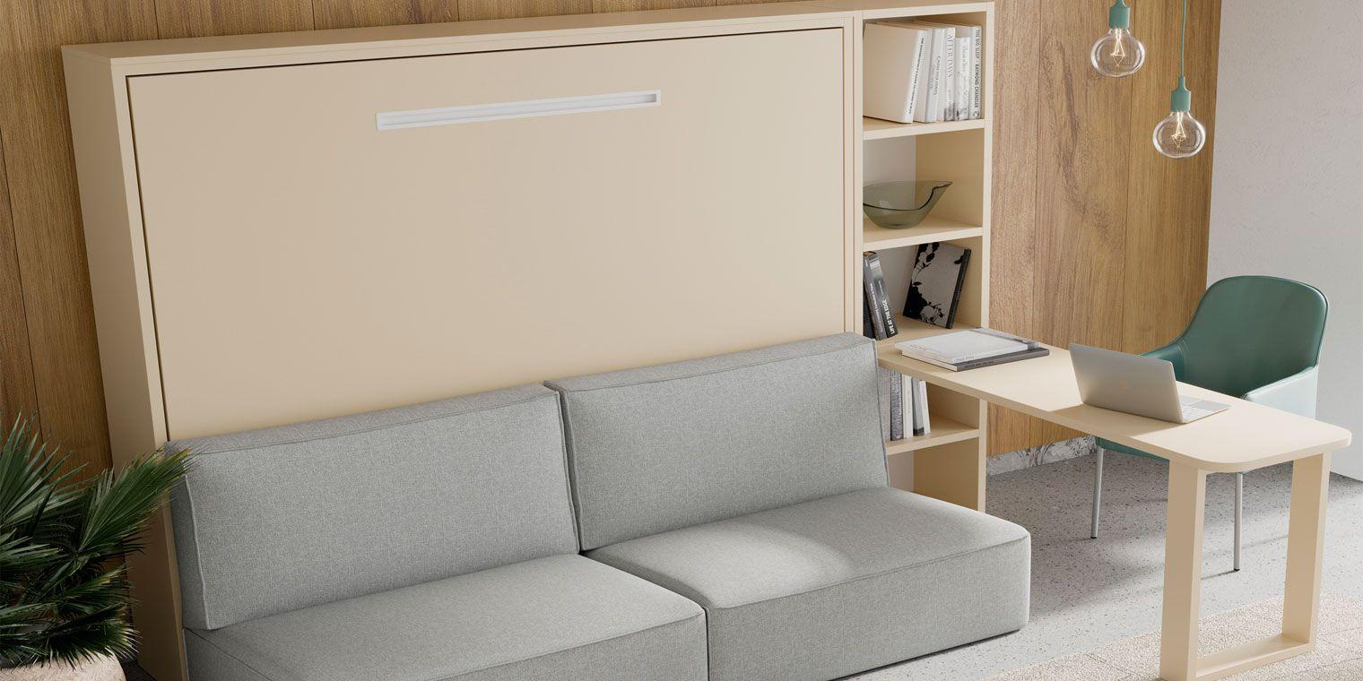 Cama abatible horizontal sofa canapi for Sofa cama armario