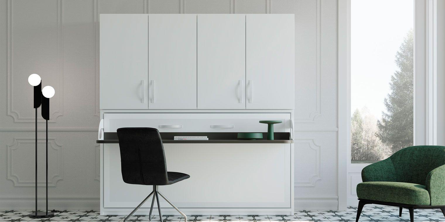 Cama abatible horizontal escritorio armario canapi - Cama abatible escritorio ...