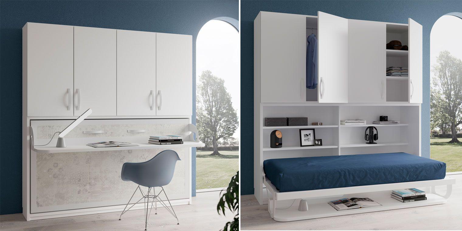 Adesivo Para Mesa De Vidro Branco ~ Cama abatible horizontal ESCRITORIO + ARMARIO Canapi
